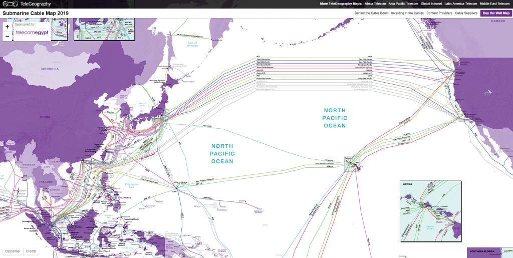 2019全球海底光缆分布图